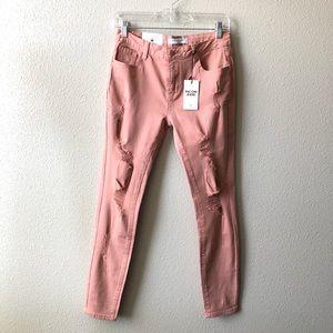 Encore Salmon Distressed Skinny Jean Size 9